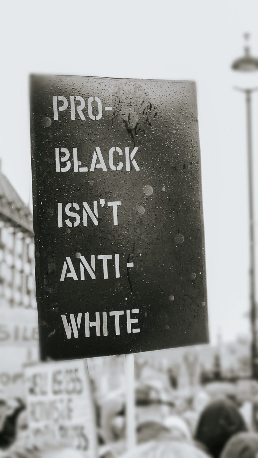 A protest sign that reads Pro-Black isn't Anti-White