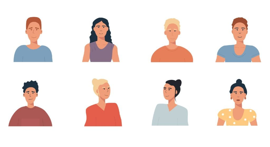People portraits set - hand drawn flat style vector design concept illustration of young men and women, male and female faces and shoulders avatars.