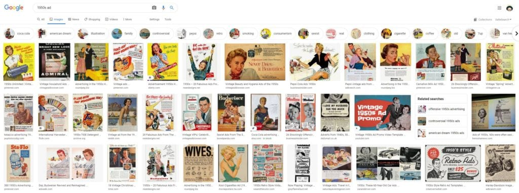 Examples of Ads from the 1950s in the United States.