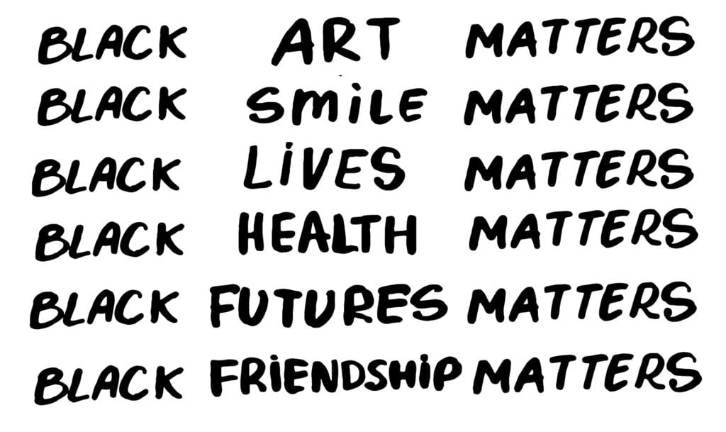 Black lives matter, smile, health, futures, friendsip, art, matter. Protest Banner about Human Right of Black People in U.S. America.