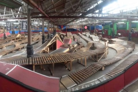 A shot of the interior of Ray's Indoor Mountain Bike Park