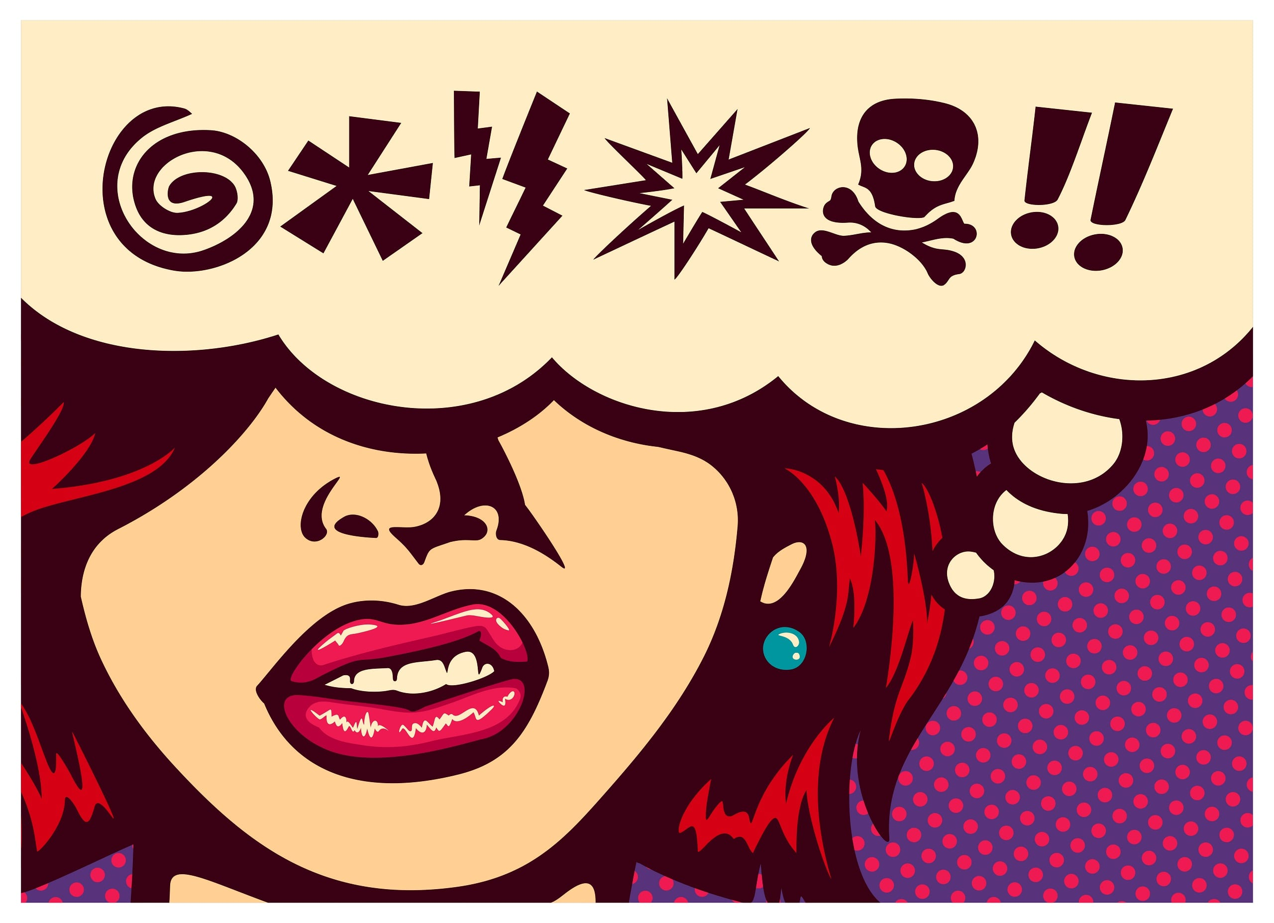 Pop art style comics panel angry woman grinding teeth with speech bubble and swear words symbols.