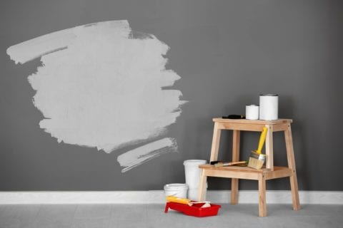 Set of decorator's tools for painting wall at home