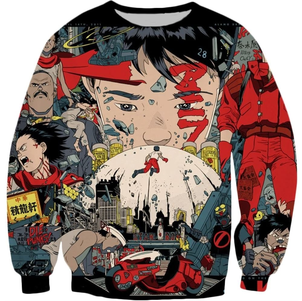 A really cool sweatshirt with design elements from the movie Akira.