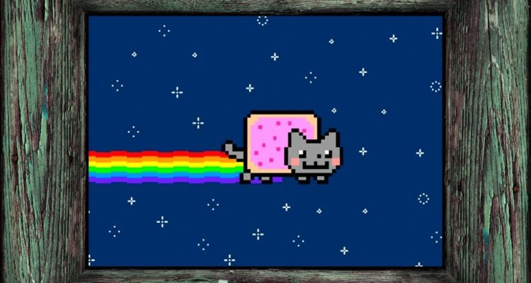 A photo of the Nyan Cat character in a frame.