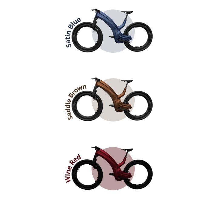 Alternate colors for the Reevo Hubless E-Bike -- three of the same bike in different colors (the top one is blue, the middle one is gold, the bottom one is red).