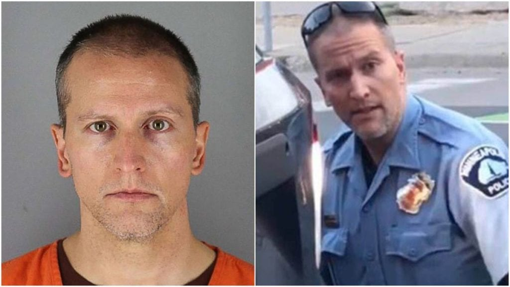 Derek Chauvin (Mugshot and in uniform from the video of him killing George Floyd)