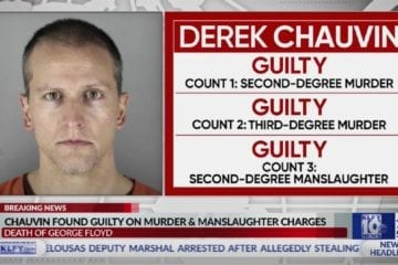An image from TV of Derek Chauvin's trial verdict outcomes.