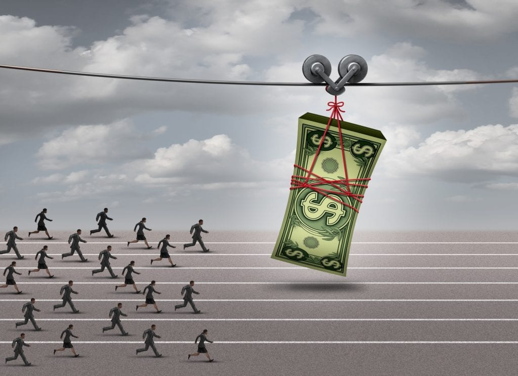 Chasing money concept and follow the profit symbol as a group of men and women running after a stack of currency as a financial incentive or business profit metaphor with 3D illustration elements.