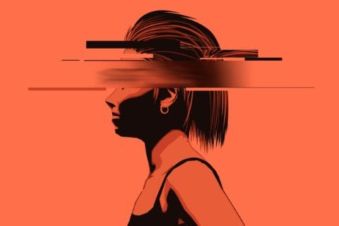 A graphic image of a young lady with a partially obscured face.