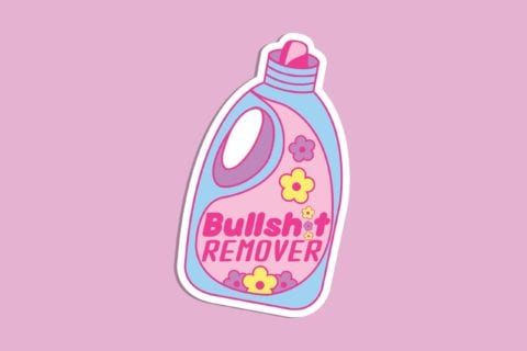"""Illustration vector of a laundry detergent with the name brand """"Bullshit remover"""""""