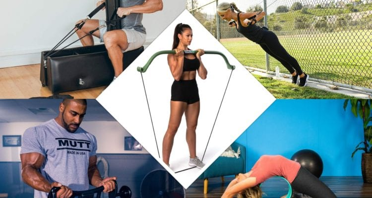 An image of people using various pieces of workout equipment. Zeno Gym. MAXPRO Portable Gym. Gorilla Bow. Mutt Bar. Chirp Wheel.