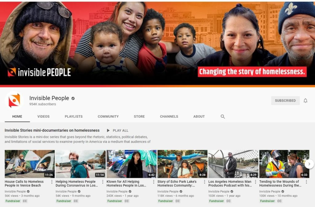 A screenshot of the Invisible People YouTube Channel.