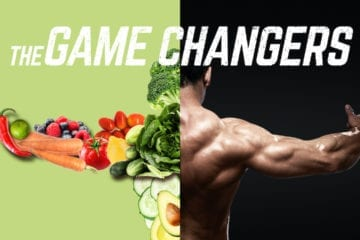 A design of a muscular man's back with his arms stretched out aside vegetables arranged in a way to resemble the shape of the muscular man's body.