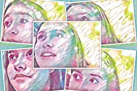 A series of screenshots from the video in the post (they have been graphically altered with a watercolor effect).