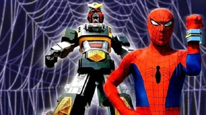 Japanese Spider-Man Supaidaman and his giant mech Marveller.