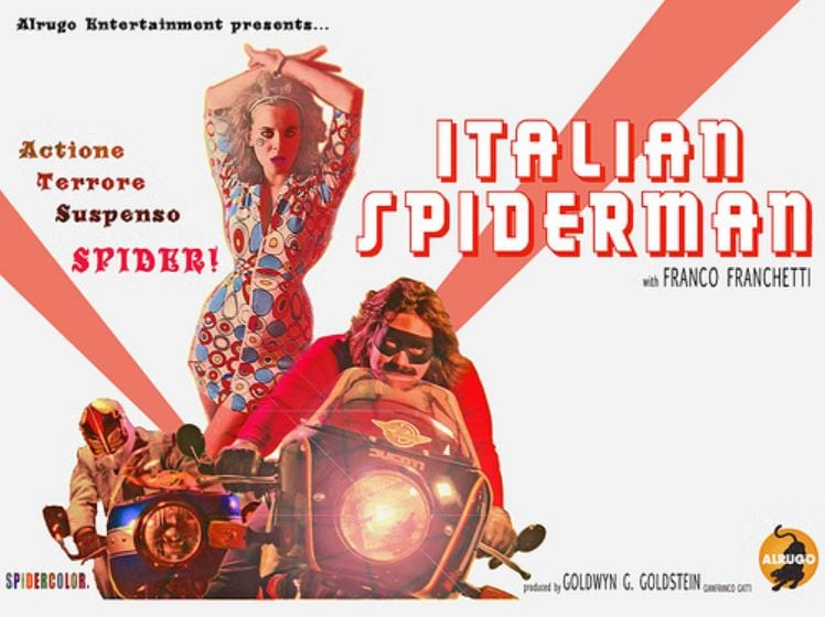 A movie poster for the parody film Italian Spiderman.