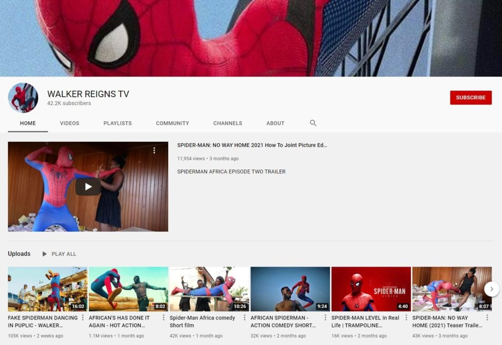 A screenshot of the WALKER REIGNS TV YouTube channel - home of Spiderman Africa.