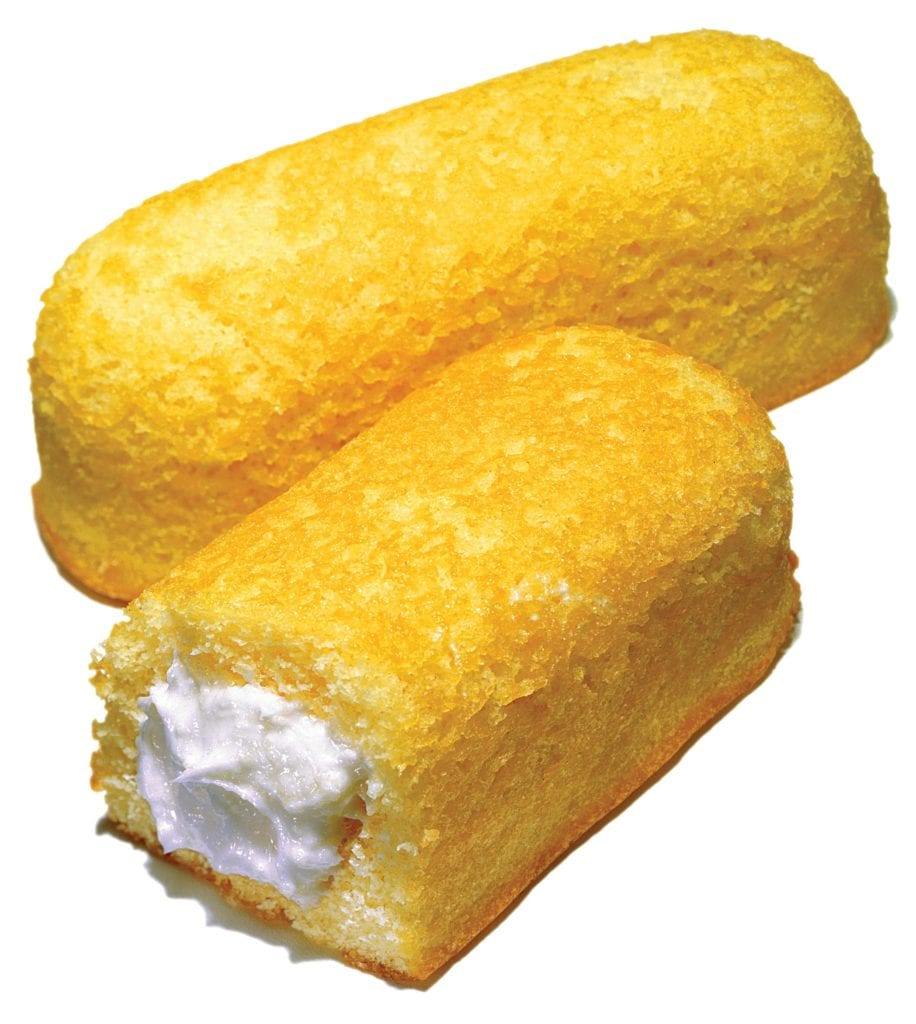 Sponge cake with cream filling on white background - commonly called Twinkies.