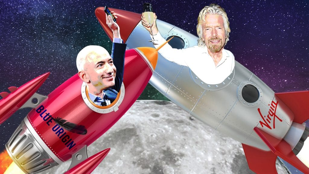A comedic graphical image of Jeff Bezos and Richard Branson in space ships.  Cartoony rich people.