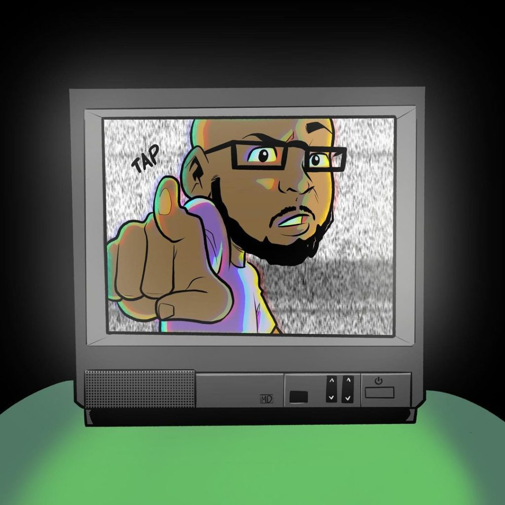 A self-portrait of Meechdoodle poking a tv screen from inside it.  Breaking the 4th wall.