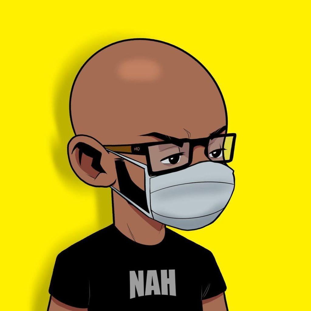 A self-portrait of Meechdoodle wearing a mask during COVID times with Nah on his shirt.