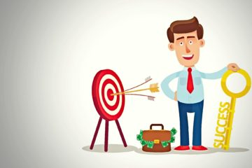 Success concept. Businessman holding golden key, briefcase full of money, All targets achieved.
