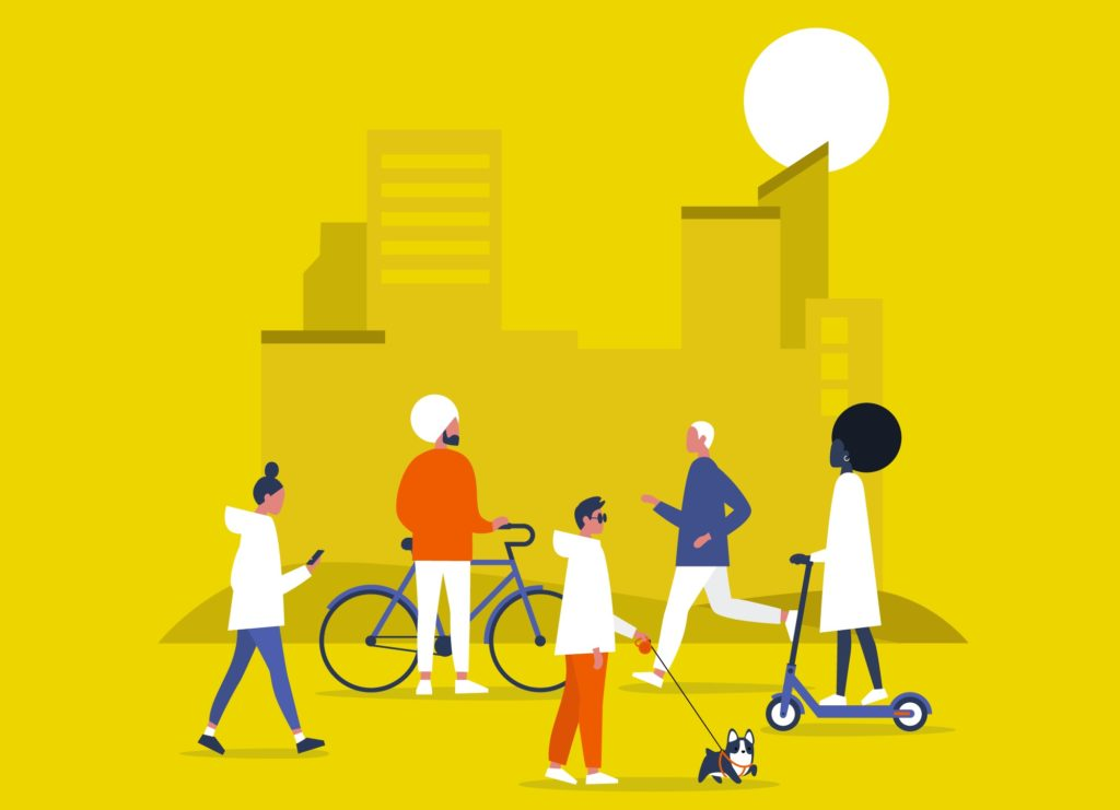 Diversity. Characters on bikes, electric scooters, walking and running young adults. Urban life. Urbanism.
